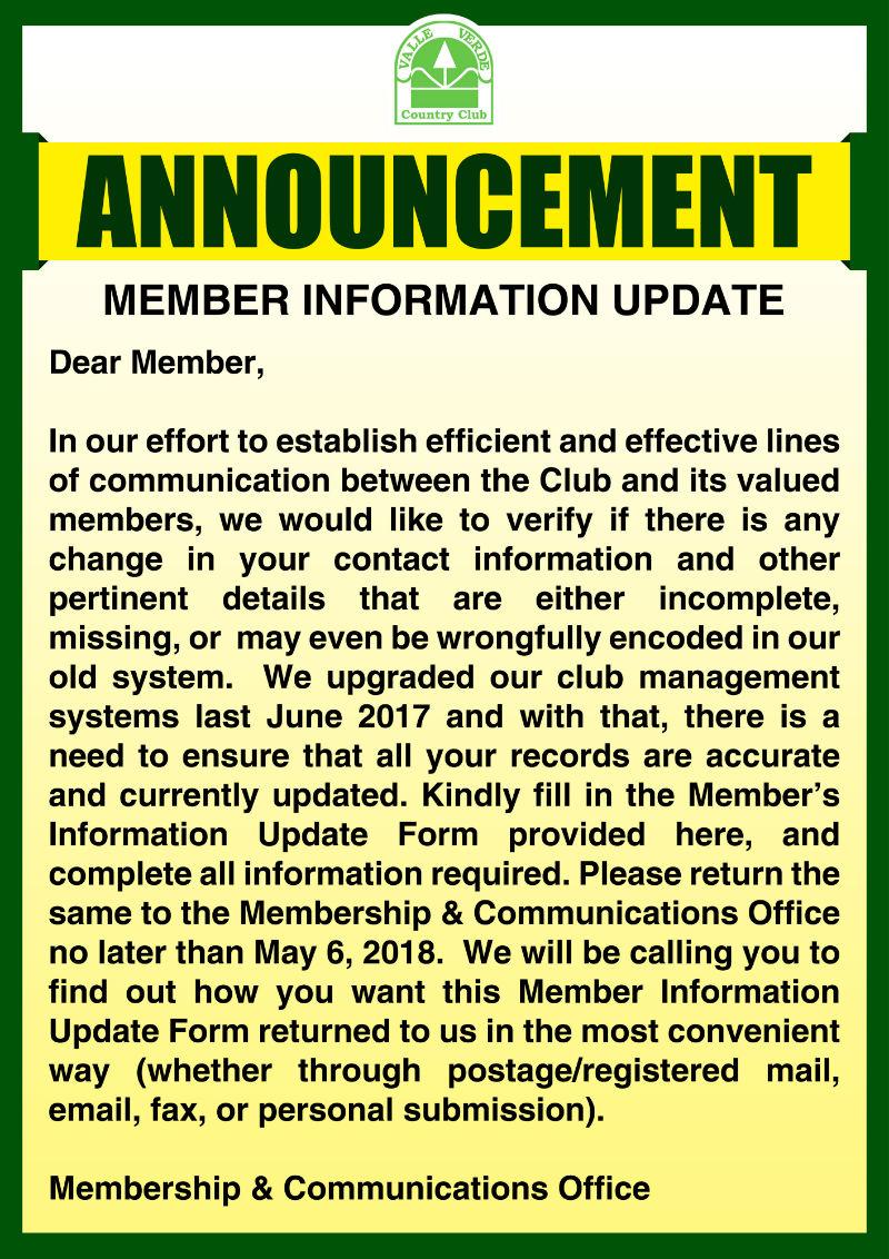 Membership Information Update 1