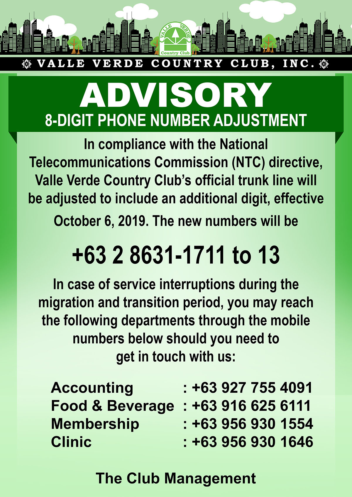 VVCCI Advisory 8-digit phone adjustment