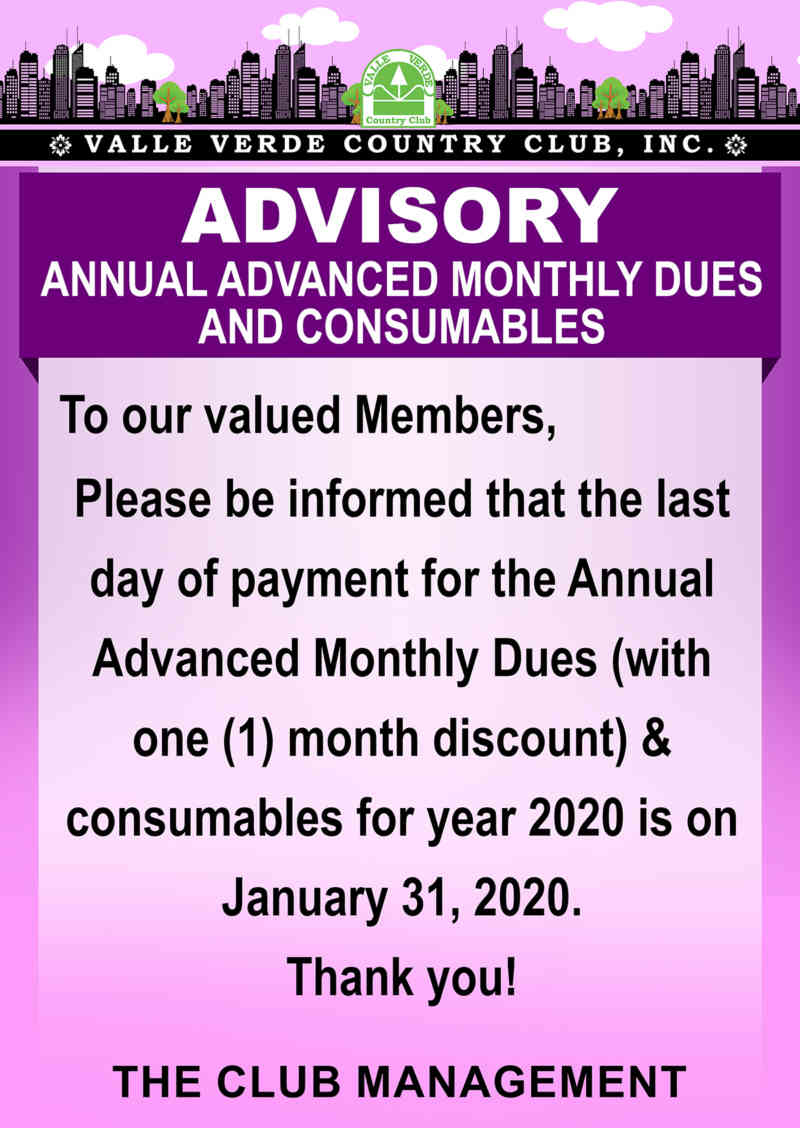 Advance Annual Monthly Dues and Consumables 10