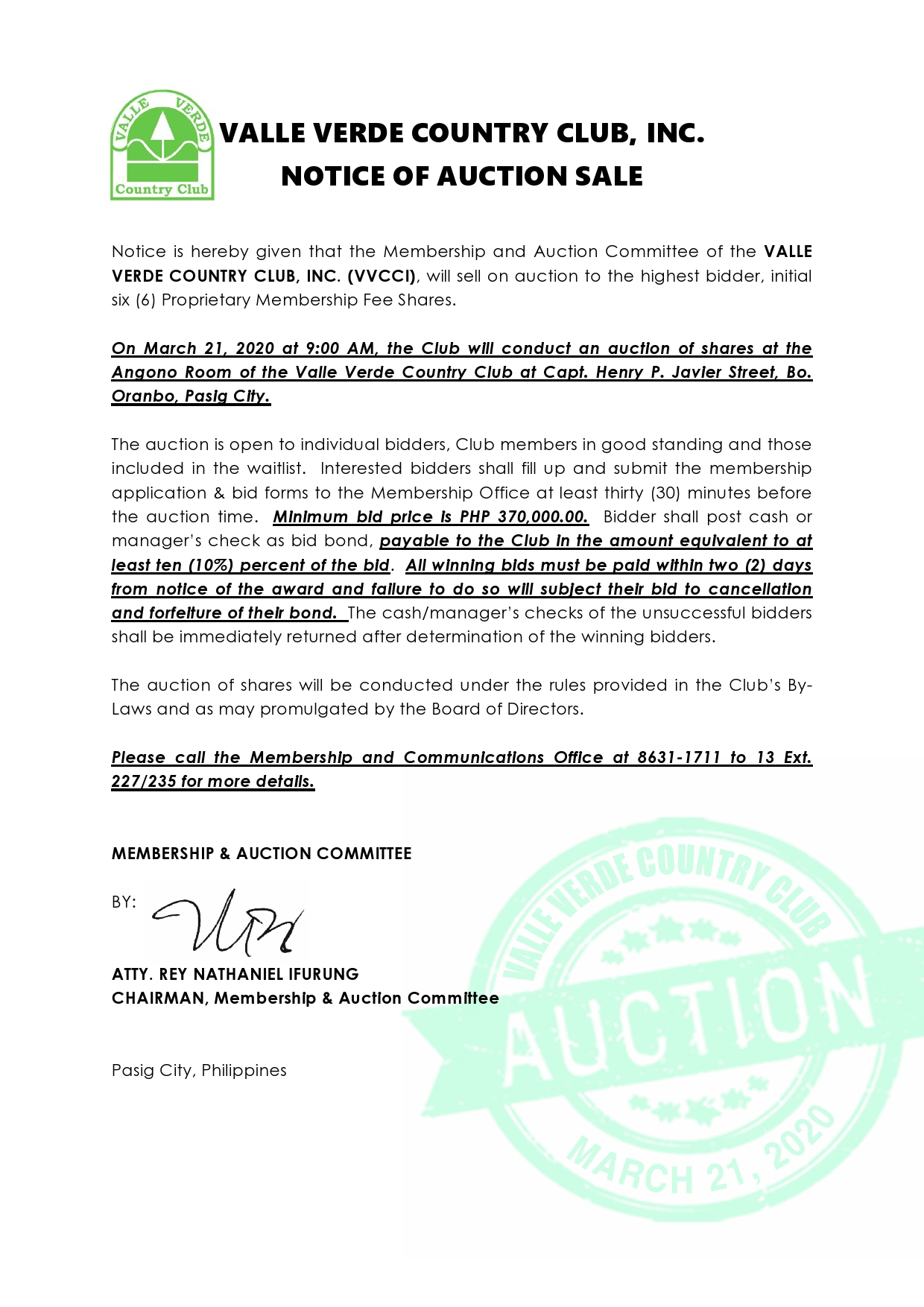 NOTICE OF AUCTION SALE 9