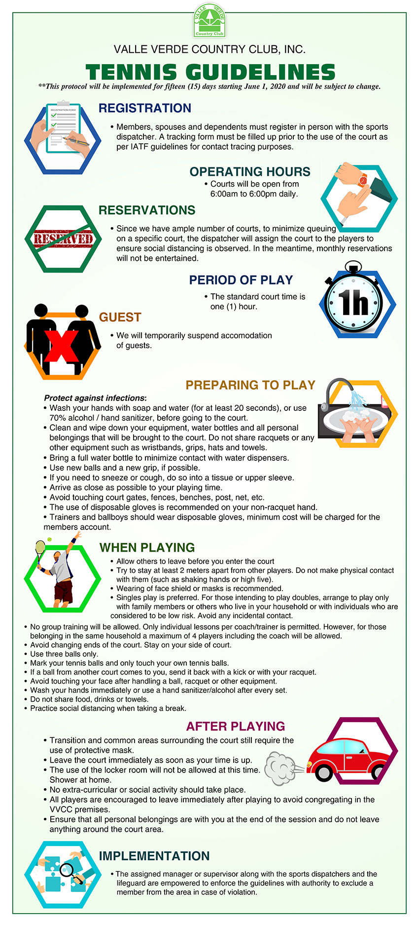 Tennis Guidelines under GCQ 8